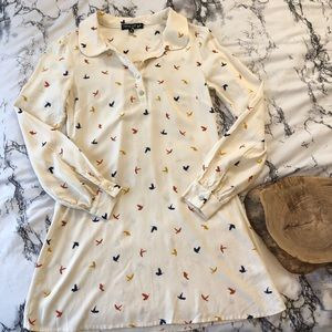 [Living Doll] Cream Colored Bird Tunic Size Medium